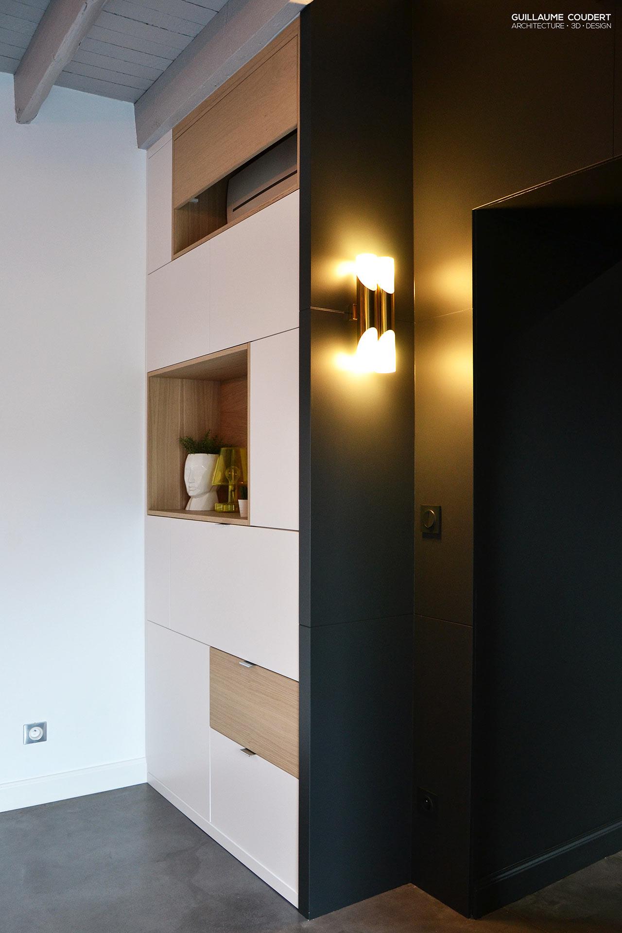 architecture-interieur-guillaume-coudert-conception-meuble-sur-mesure-meuble-entree-avec-secretaire-niche-placage-bois-peinture-lamp-black-little-green-apllique-vintage-laiton Frais De Boutique De Meuble Conception