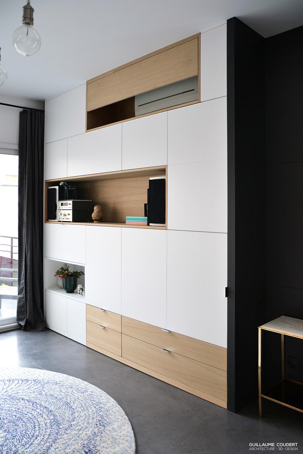Meuble Entr E Meuble Salon Guillaume Coudert Architecture D  # Cacher Tv Salon